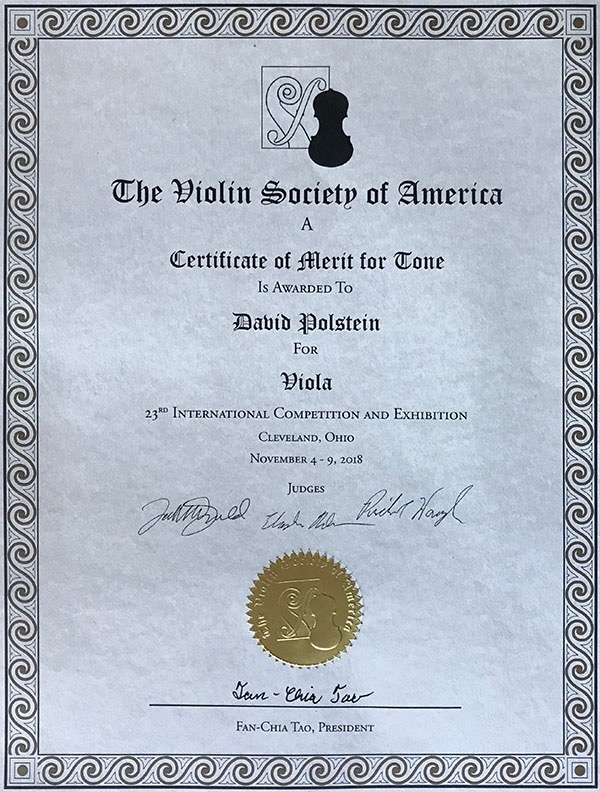 Photo of 2018 VSA viola tone certificate